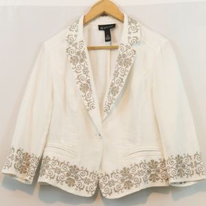 INC White Floral Embroidered Studded Blazer Jacket